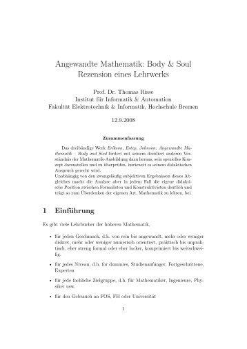 Body & Soul - Weblearn.hs-bremen.de - Hochschule Bremen