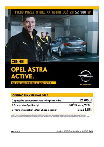 Opel Astra Active cennik 2013 - Rok modelowy 2013 - Opel Polska