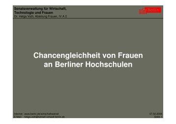 Chancengleichheit von Frauen an Berliner Hochschulen