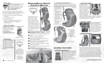 Stratos/Sirrus Series Owner's Manual - Osprey Packs, Inc