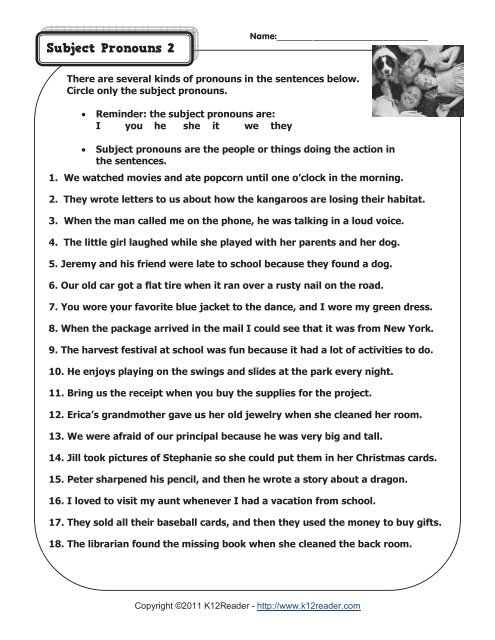 Subject Pronouns 2 | Pronoun Worksheets