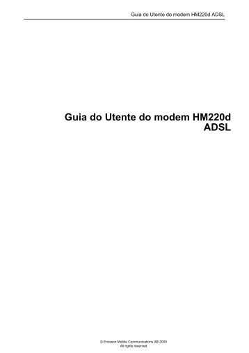 Guia do Utente do modem HM220d ADSL - ABUSAR