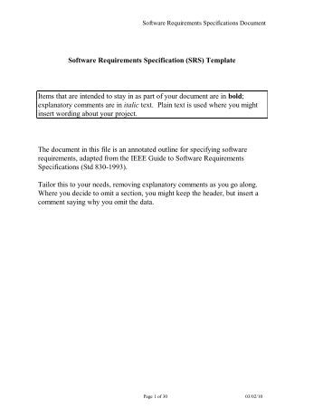 Special specification template for Srs software requirement specification template