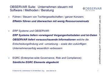 OBSERVAR Suite: Unternehmen steuern mit Software / Methoden ...