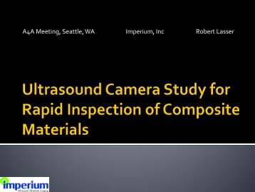 The Use of Digital Acoustic Video for Rapid Inspection of ...