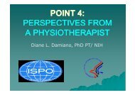 POINT 4: PERSPECTIVES FROM A PHYSIOTHERAPIST - Ispo.org.uk