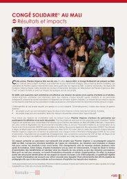 CONGé SOLIDAIRE® AU MALI ОRésultats et ... - Planète Urgence