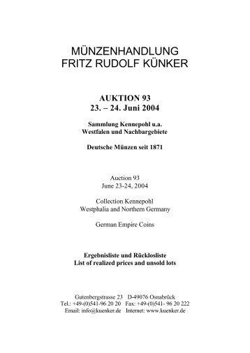 AUKTION 93 23. – 24. Juni 2004 Sammlung Kennepohl ua ...