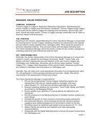 JOB DESCRIPTION - Tourism Calgary