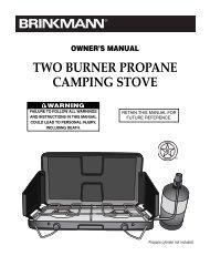 Owner's manual two burner propane camping stove - Brinkmann