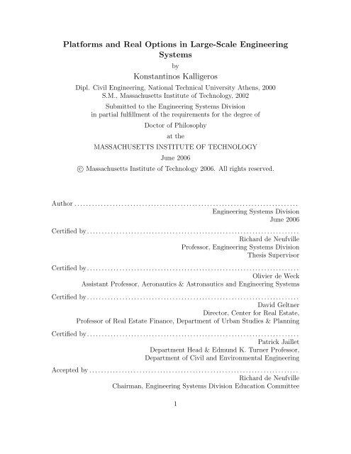 Platforms and Real Options in Large-Scale ... - Title Page - MIT