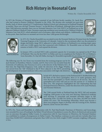 Rich History in Neonatal Care - UT Southwestern