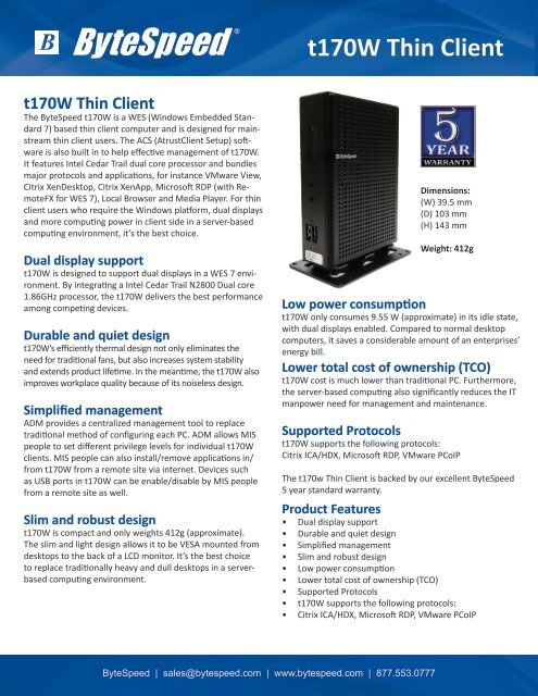 ByteSpeed t170W Thin Client Flyer pdf