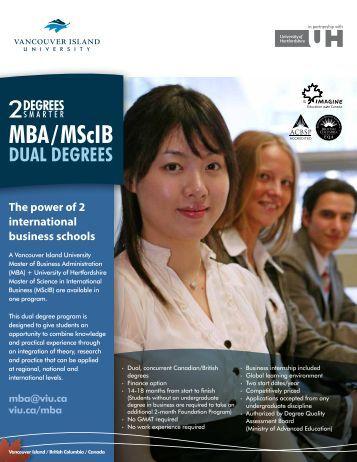 MBA/MScIB DUAL DEGREES - Vancouver Island University