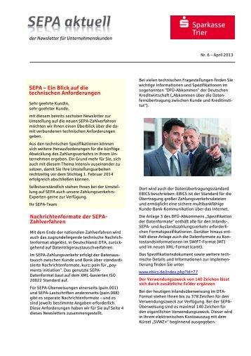 SEPA – Ein Blick auf die technischen ... - Sparkasse Trier
