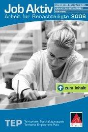 Job Aktiv. Arbeit für Benachteiligte 2008. - Territoriale ...