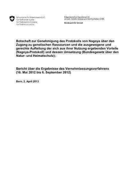 Bericht über die Ergebnisse des Vernehmlassungsverfahrens