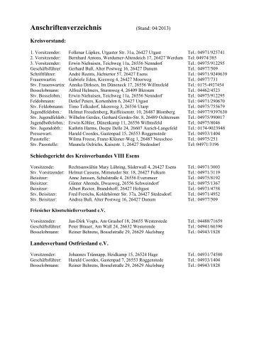 Anschriftenverzeichnis - Kreisverband VIII- Esens eV