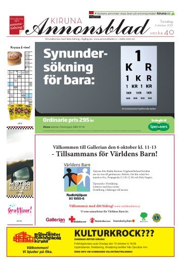 Kiruna Annonsblad vecka 40, torsdag 4 oktober 2012 sidan 1