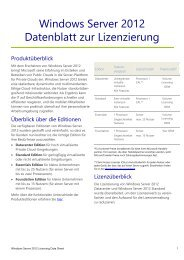 Windows Server 2012 Datenblatt zur Lizenzierung