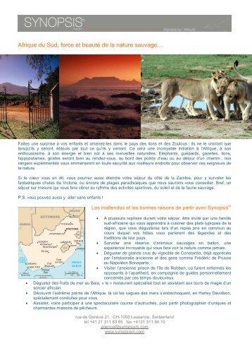 Afrique du Sud et Zambie - Synopsism