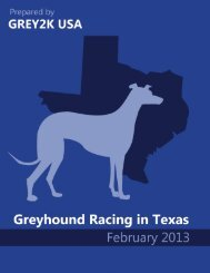Report on Greyhound Racing in Texas (February 2013) - Grey2K USA