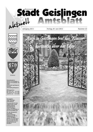 Amtsblatt Geislingen KW23 - Stadt Geislingen