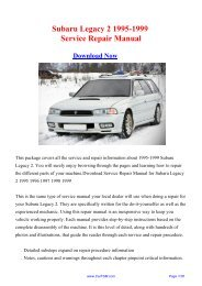 Download 1995-1999 Subaru Legacy 2 Factory Repair ... - Carfsm