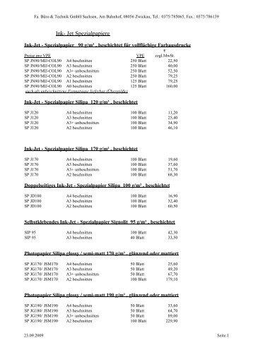 Spezialpapiere für Tintenstrahldrucker bis DIN A2 - Büro und ...