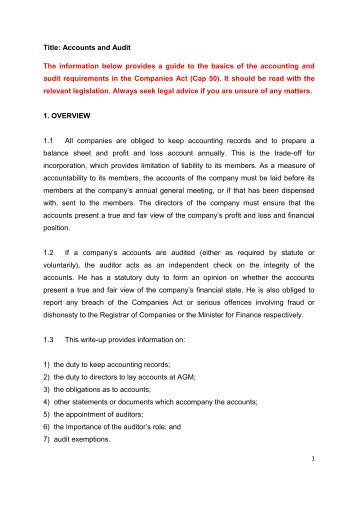Title: Accounts and Audit The information below provides a ... - ACRA