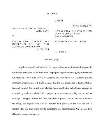 Appellant Multi-Craft Contractors Inc., a general contractor that ...