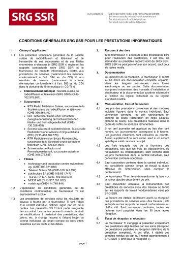CG SRG SSR pour prestations informatiques