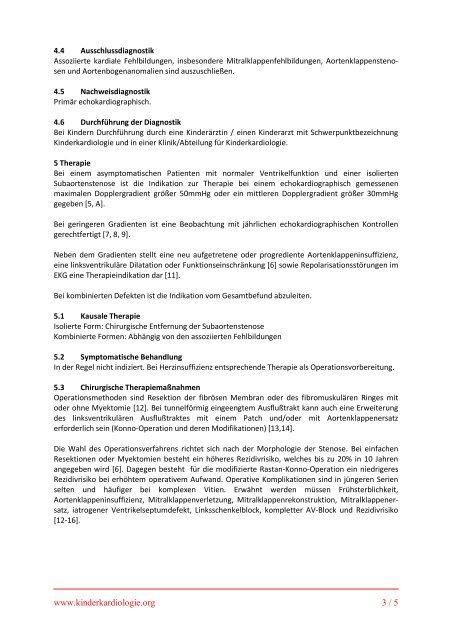 Subvalvuläre Aortenstenose - DGPK-Deutsche Gesellschaft für ...