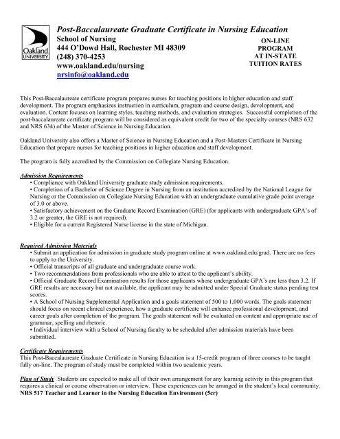Post Baccalaureate Graduate Certificate In Nursing Education