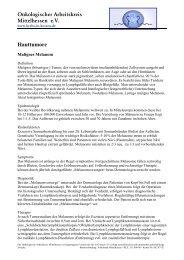 Onkologischer Arbeitskreis Mittelhessen e.V. Hauttumore