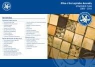 Office of the Legislative Assembly STRATEGIC PLAN 2009 – 2014