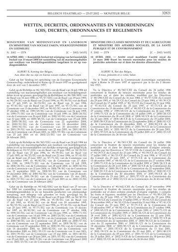 wetten, decreten, ordonnanties en verordeningen lois, decrets ... - fyto