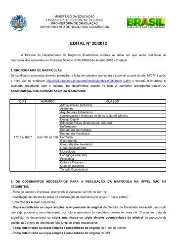 EDITAL Nº 20/2012 - Universidade Federal de Pelotas