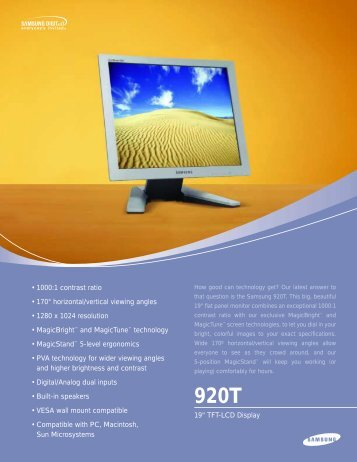 "19"" TFT-LCD Display • 1000:1 contrast ratio • 170° horizontal/vertical ..."