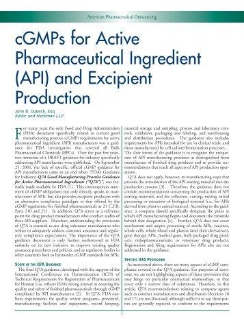 cGMPs for Active Pharmaceutical Ingredient (API ... - Keller Heckman
