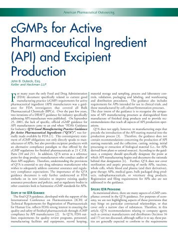 cGMPs for Active Pharmaceutical Ingredient (API ... - Keller Heckman
