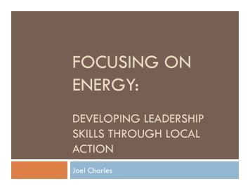 Focusing on Energy: Developing Leadership Skills Through Local ...
