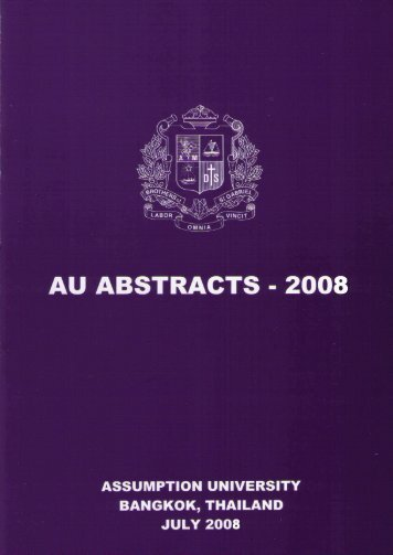 AU Abstracts 2008 - AU Journal - Assumption University of Thailand