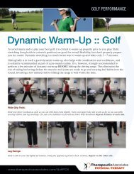 Dynamic Warm-Up :: Golf - Therapeutic Associates