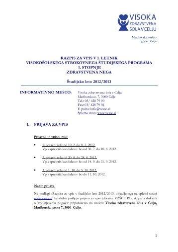 Razpis za vpis VZÅCE Å¡tud. leto 2012-13 - Visoka zdravstvena Å¡ola ...