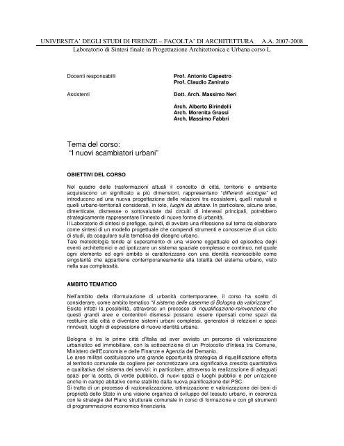 Calendario Tesi Unifi Architettura.Tema Del Corso Unifi Dipartimento Di Architettura