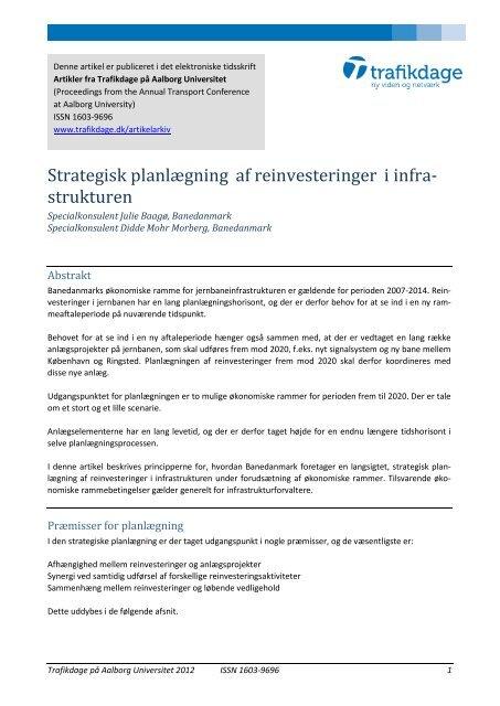 Strategisk planlægning af reinvesteringer i - Trafikdage.dk