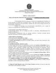 ANEXO I Edital 010/2013 RELAÇÃO DE DOCUMENTOS PARA ...