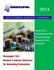 mscpa industry conference - Mississippi Society of Certified Public ...