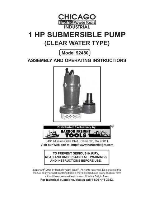 1 hp submersible pump - Harbor Freight Tools